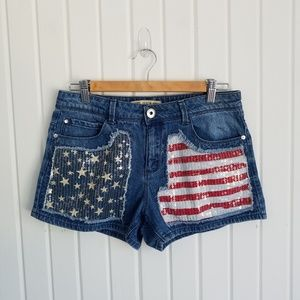 Guess Stars and Stripes Sequin Shorts
